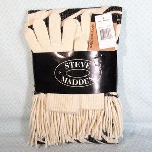 NWT Steve Madden Black / Ivory Scarf & Gloves Set